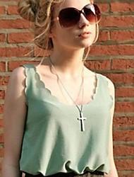 Women's Chiffon Solid Color Tank Shirt