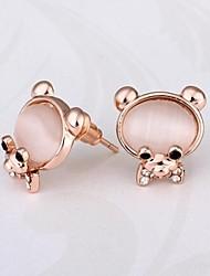 moda encantador oso rosa de 18 quilates de oro rosa chapado en oro Pendientes prisioneros (rosa) (1 par)