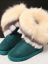 Zapatos de mujer - Tacón Plano - Botas de Nieve - Botas - Casual - Ante - Negro / Marrón