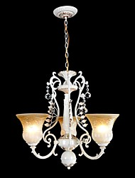 White Chandeliers Three-Lights Pattern-Glass-Shade Hand-Gilt European Retro Classic 220V
