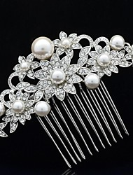 9cm Alloy and Rhinestone and Imitation Pearl Women's Wedding Bridal Prom Hair Comb