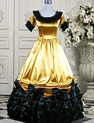 Short Sleeve Floor-length Yellow and Black Silk Aristocrat Lolita Dress