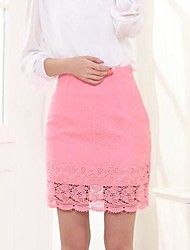 Women's Cotton Graceful Package Elasticity Lace Step Skirt