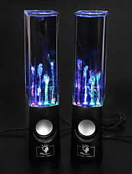 USB LED Light Dancing Water Hi-Fi stereo Speaker Music for PC Laptop MP3 Phone (Black)