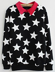 Women's Lapel Stars Fleece Lining Sweatshirts
