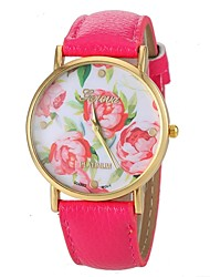 Women's Vogue Rose Pattern PU Leather Band Quartz Wrist Watch (Assorted Colors) Cool Watches Unique Watches