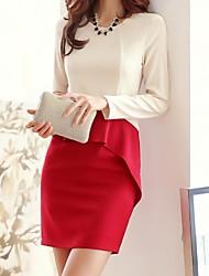 Robe Femme TravailCouleur Pleine Au dessus du genou Manches Longues Polyester Automne Elastique Opaque Moyen