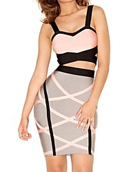Women's  Pink and Grey Bandage Dress  suit  (blouse&skirts)