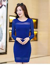 Women's Bodycon Solid Sheath Dress , Round Neck Mini Polyester / Chiffon