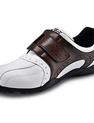pelle microfibra marrone scuro impermeabile sneaker golf traspirante uomini pgm con nastro di nylon chiusura e fissaggio delle unghie