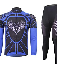 XINTOWN Men's Wolf Quick Dry Moisture Absorption Long Sleeve Cycling Suit—Blue+Black