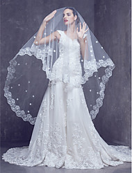 Wedding Veil One-tier Cathedral Veils Lace Applique Edge 98.43 in (250cm) Tulle Ivory Ivory