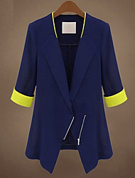 YiLuo Korean Style Large Size Slim 1/2 Length Sleeve Blazer  (Blue)