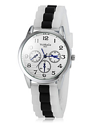 Frauen dekorative kleine Zifferblatt-Design silber Felge Fall Silikonband Quarz-Armbanduhr (farbig sortiert)