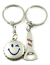 (Une paire) ouvre-bouteille et Cap Intéressant de haute qualité en acier inoxydable Porte-clés Symbole de l'amour