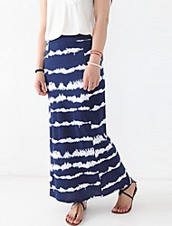 Women's Casual Stripe Splice Straight Long Skirt
