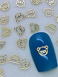 200pcs cute baby volto orso metallo dorato decorazione di arte del chiodo della fetta