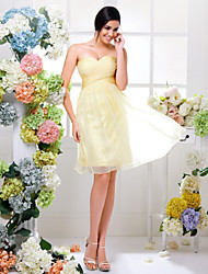 Bridesmaid Dress Knee Length Chiffon A Line Sweetheart Dress (1466927)