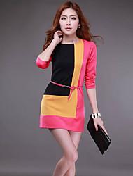 yana elegante contraste de color de manga larga vestido de una línea delgada