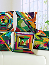 Set of 5 Colorful Geometric Cotton/Linen Decorative Pillow Cover