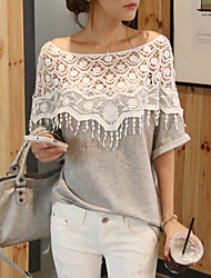 Q.S.H Women's All Match Cut Out With Lace T-Shirt