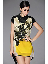 TS Women's Print Yellow Dress,Shirt Collar Short Sleeve