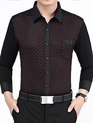 Men's White Point Mercerized Cotton Joint Printing Long Sleeved Shirt