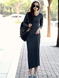 Women's Going out Sexy Sheath Dress,Solid Round Neck Maxi Long Sleeve Black / Gray Fall / Winter