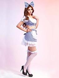 doux bleu fille&polyester blanc fille uniforme avec un arc bandeau
