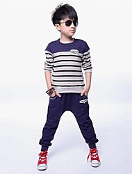 Boy's Fashion Leisure Multicolor Stripe Two Piece Clothing Set
