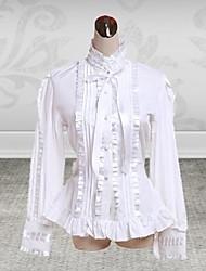 de manga larga de algodón blanco cinta dulce lolita blusa