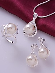 Lureme®925 Sterling Silver Plate Drill   Pearl Ring Necklace Earrings Suit