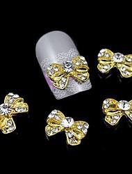 10pcs bowknot ouro liga de strass acessórios unha arte decoração
