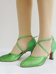 Non Customizable Women's Dance Shoes Modern Paillette Chunky Heel Green