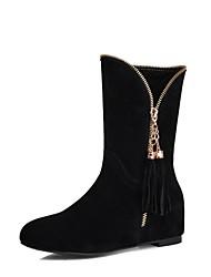 Women's Shoes Suede Fall / Winter Fashion Boots Dress Flat Heel Zipper Black / Brown / Gray / Beige