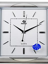 "POWER™ 15""H Brief Style Square Shape Titanium Silver Metal Texture Border Super Mute Wall Clock"