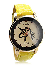 Vrouwen stijlvolle pu band analoge quartz horloge (verschillende kleuren)