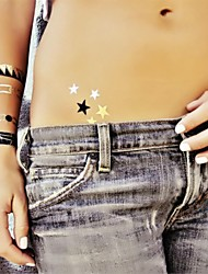1Pcs Stars Metallic Gold and Silver Tattoo Stickers Temporary Tattoos