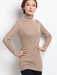 Women's Casual/Daily Simple Long Pullover,Solid Blue Red Black Brown Gray Green Turtleneck Long Sleeve Others Fall Winter Thick Stretchy
