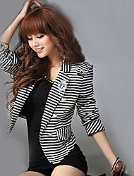 rayé noir / blanc blazer, décontracté cran revers manches longues touche des femmes