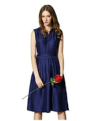 Cavos® Women's Silk Elegant Sleeveless V-neck Long Dress