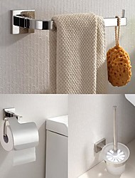 304 de acero inoxidable de 3 piezas, accesorios de baño anillo toalla establecer y escobilleros y titular de tejido