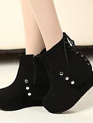 Women's Shoes LIANGMEIYUE Fashion Boots Wedge Heel Suede Ankle Boots