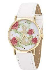 Women's Anchor Pattern Golden Case PU Band Quartz Analog Wrist Watch (Assorted Colors)