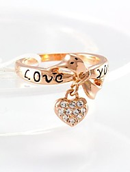 Women's Fashion Heart Design 18K Gold Zircon Wedding Ring