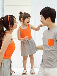 Family's Casual Round Collar Contrast Color Dress & T-shirt