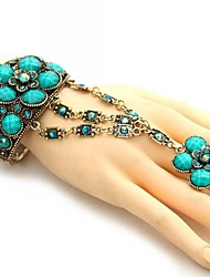 Women's Fashionable National Hollow Out Flower Style Bracelet with Ring (More Colors)