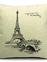 Torre Eiffel de algodão / linho fronha decorativo