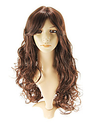 Capless Fashional Long Wavy Auburn Red Wigs Side Bang