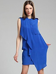Women's Blue/Yellow Dress , Casual/Work Sleeveless